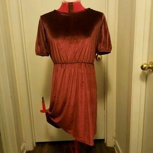 Red Maroon Velvet Old Navy Puff Sleeve Dress NWOT